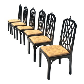 1970s Vintage Chinoiserie Dining Chairs- Set of 6 For Sale