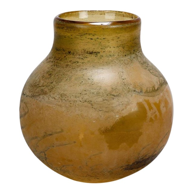 Mid Century Taupe and Bone Color Round Body Vase Attributed to Seguso For Sale