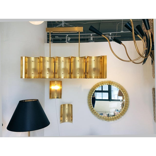 D'Lightus bespoke curved brass and frosted glass 12 lights chandelier - Image 5 of 8