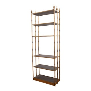 Hollywood Regency Vintage Faux Bamboo Gold Etagere Bookshelf