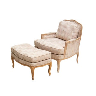 French Provincial Chair and Ottoman by Woodmark For Sale