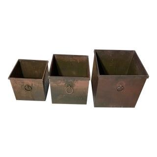 Vintage Square Brass Planter-Set of 3 For Sale