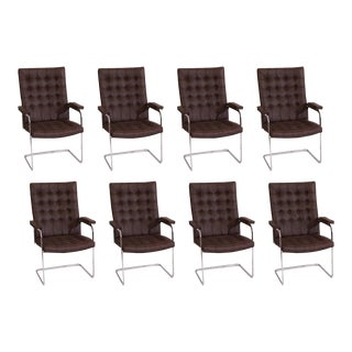 Vintage Stendig Leather & Steel Cantilevered Dining Chairs - Set of 8 For Sale