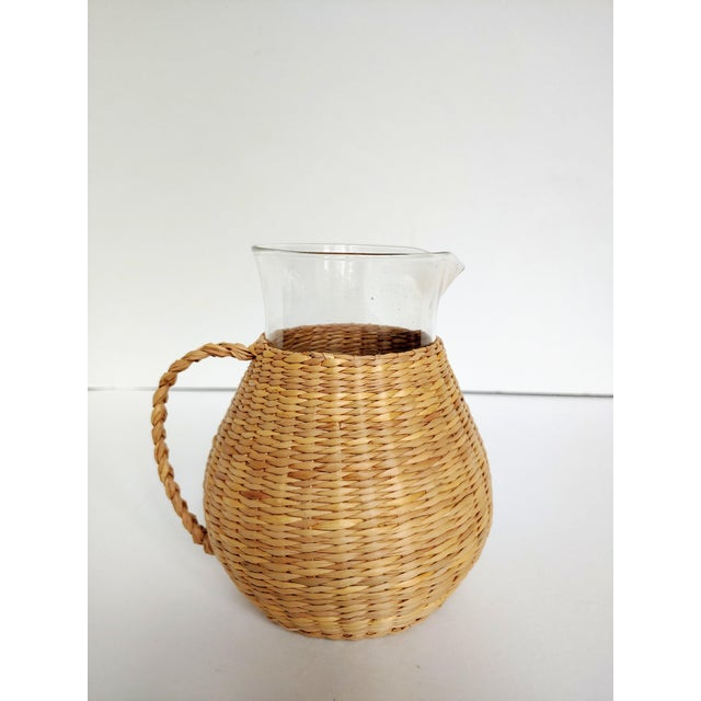Woven Wicker Wrapped Pitcher For Sale - Image 9 of 9