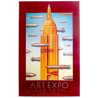 Vintage 1981 Rare New York Art Expo Dave MC Macken Lithograph Print Zeppelins Exhibition Poster For Sale