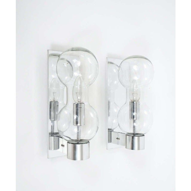 Set of Six Hourglass Shaped Clear Glass Sconces For Sale - Image 4 of 6