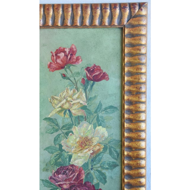 Antique English Red & Yellow Roses Floral Oil Painting For Sale - Image 4 of 9