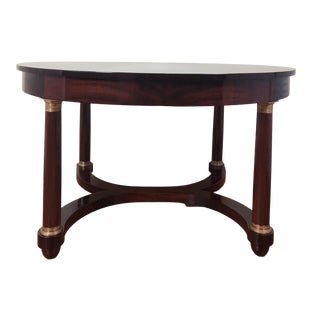 Late 19th Century French Empire Style Mahogany Oval Center Table For Sale