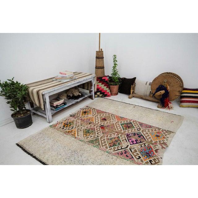 Vintage Decorative Kilim Rug- 5′1″ × 5′9″ For Sale In Los Angeles - Image 6 of 7