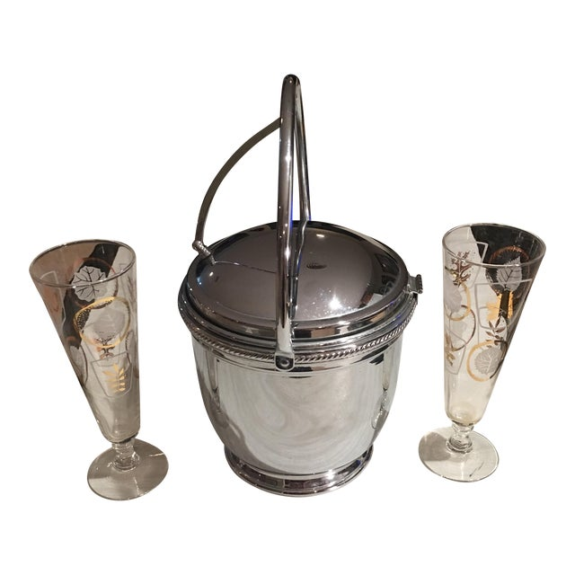 Mid-Century Silver Ice Bucket With Flutes - Set of 3 - Image 1 of 4