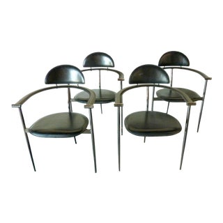 1960s Black Leather Stiletto Chairs by Arrben - Set of 4 For Sale