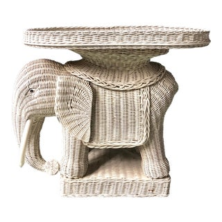 1960s Boho Chic White Wicker Elephant Stool With Tray