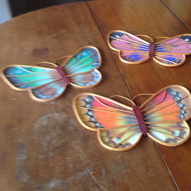 Vintage Rattan & Fabric Butterfly Wall Art - Set of 3 - Image 9 of 11
