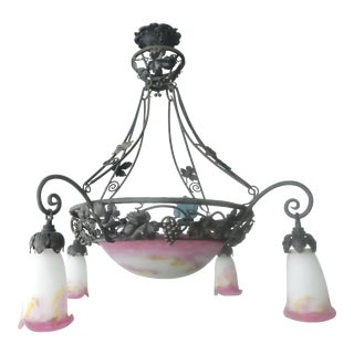 Signed Muller Freres Art Deco Pink Art Glass & Wrought Iron Chandelier For Sale