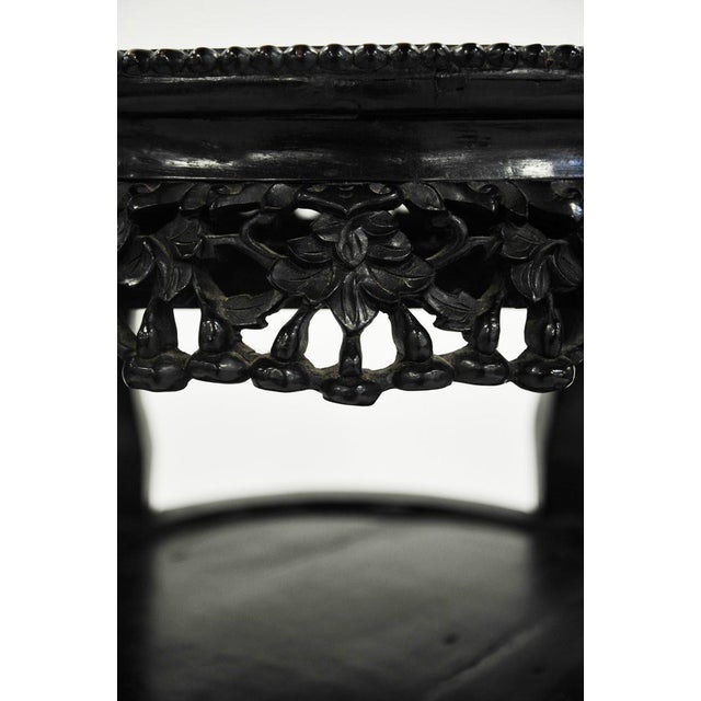 Lacquer 19th C. Chinese Carved Marble Inlay Round Side Table For Sale - Image 7 of 13
