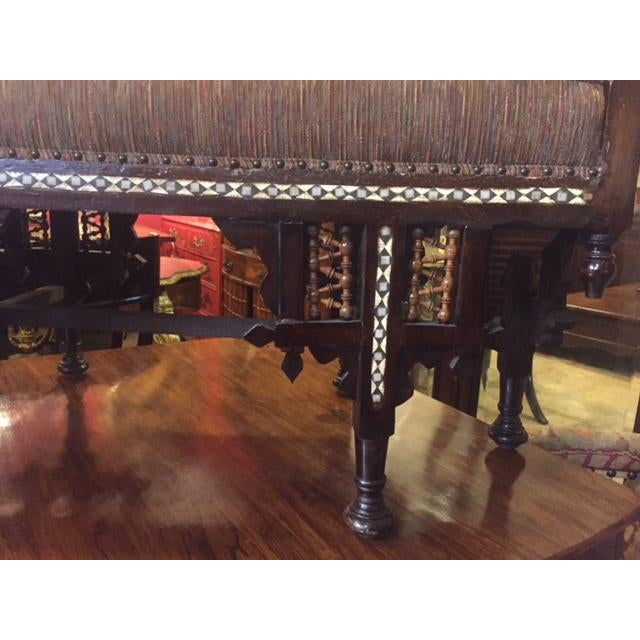 Brown Vintage Moroccan Inlaid Bone Handled Bench For Sale - Image 8 of 11