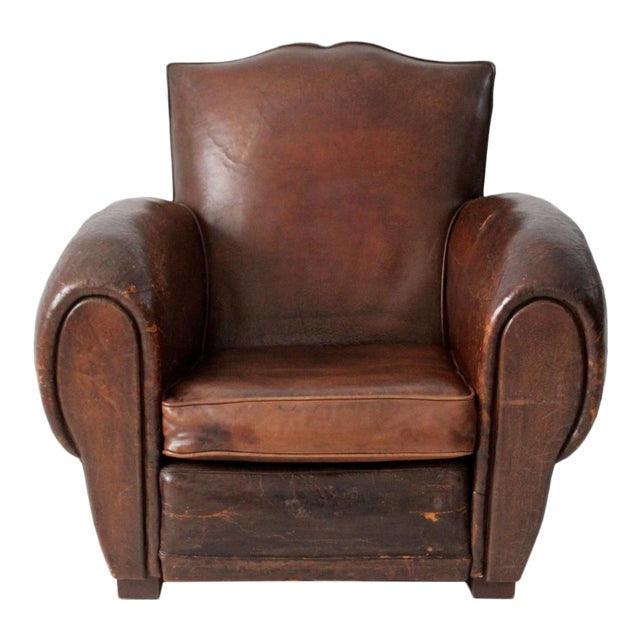 Antique French Leather Club Chair For Sale - Antique French Leather Club Chair Chairish