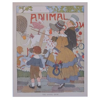 Vintage Matted British Children's Print of Animal For Sale