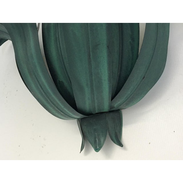 Art Deco Tole Palm Tree Leaf Wall Sconces - a Pair - Image 6 of 6