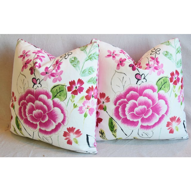 "French Manuel Canovas Floral Linen Feather/Down Pillows 20"" Square - Pair For Sale - Image 9 of 13"