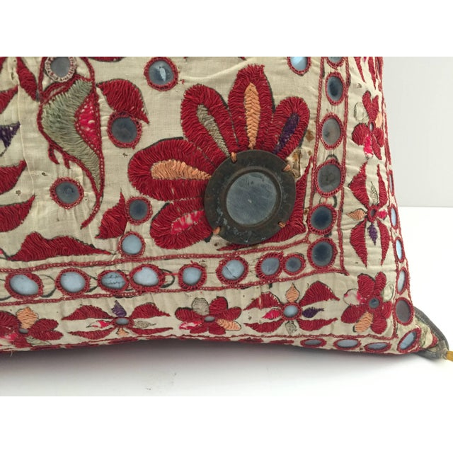 Metal 19th Century Rajasthani Colorful Embroidery and Mirrored Decorative Pillow For Sale - Image 7 of 11