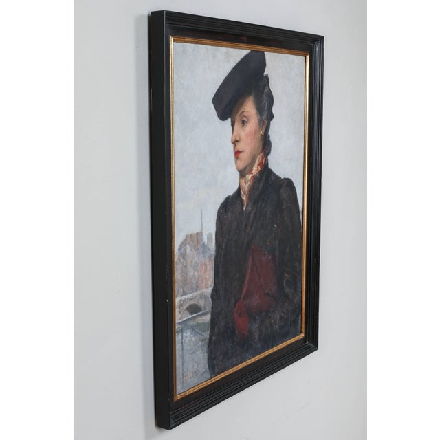 Portrait of Parisian Woman in Black Hat Painting by C.P. Bernardo For Sale In Los Angeles - Image 6 of 7