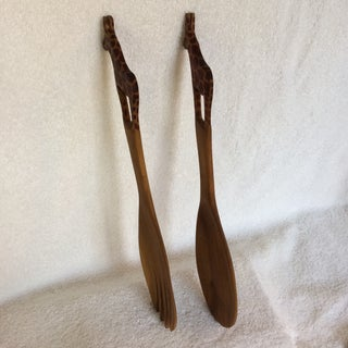 Vintage Carved in Kenyan Giraffe Wooden Salad Spoon and Fork - Set of 2 Preview