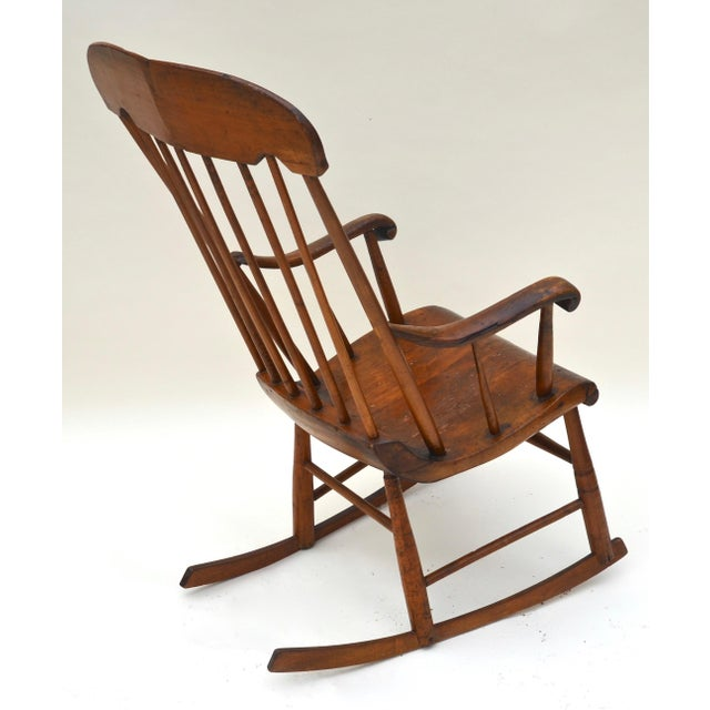 Mid 19th Century Antique Primitive Boston Rocking Chair C.1840s For Sale - Image 5 of 11