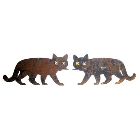 Metal Black Cats with Marble Eyes - A Pair - Image 1 of 5