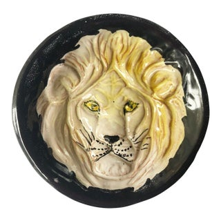 Vintage Italian Black Lion Ceramic Catch All Dish For Sale