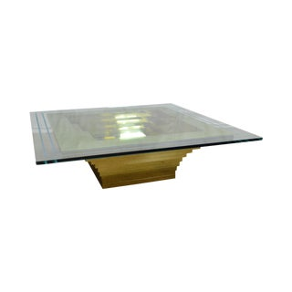 Mid-Century Modern Cityscape Stacking Brass Large Square Glass Top Coffee Table