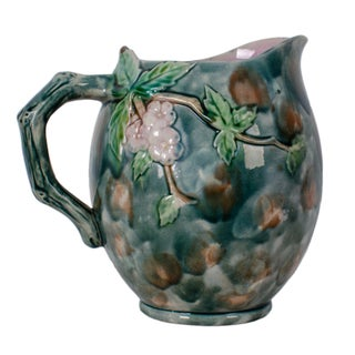 Griffin Hill & Smith Etruscan Hawthorne Majolica Pitcher, C.1880s For Sale
