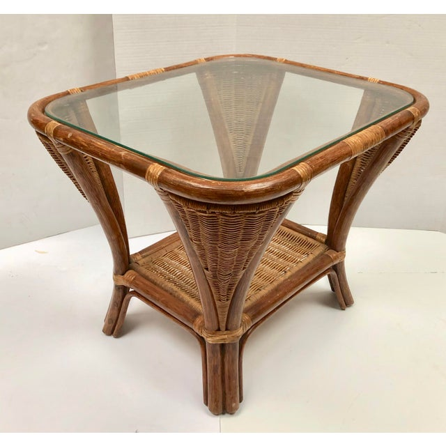 1940s Rattan and Wicker Side Table For Sale - Image 10 of 12