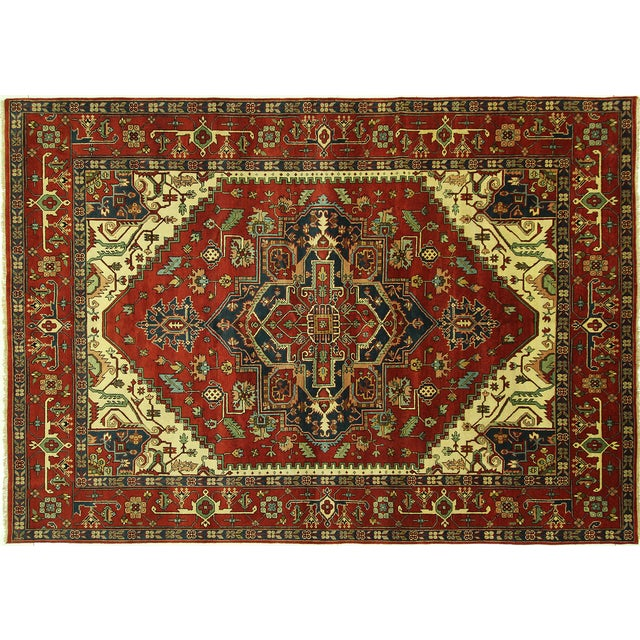 Heriz Oriental Hand Knotted Area Rug - 9'10 x 14' - Image 1 of 10