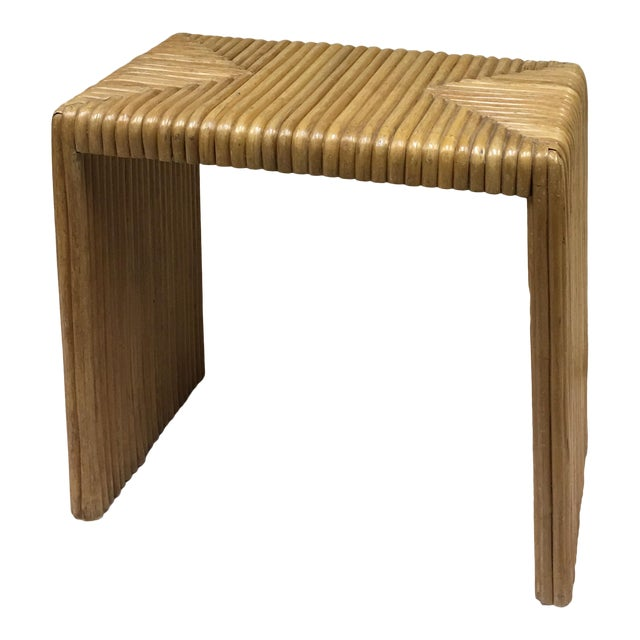 1970s Contemporary Cane Bamboo Waterfall Side Table For Sale