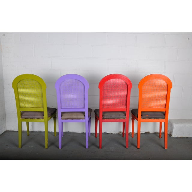 Black 1970's Vintage French Multicolor Dining Chairs With Cane Back - Set of 4 For Sale - Image 8 of 13
