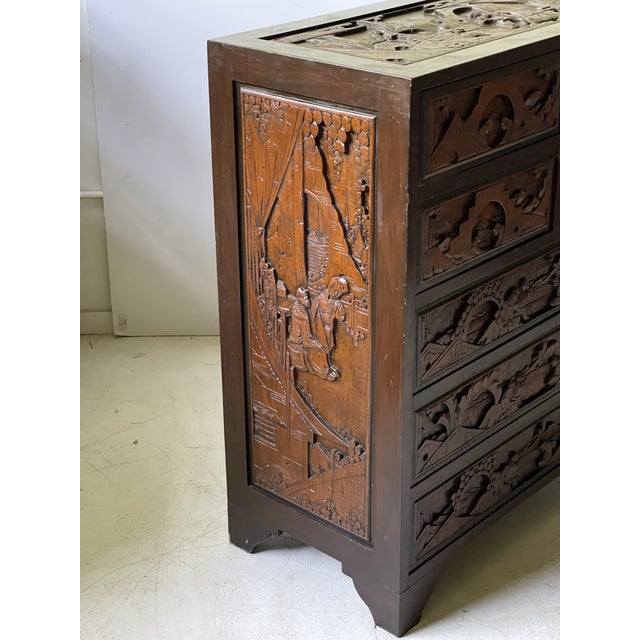 Chinoiserie Chinoiserie Carved Camphor Wood Batchelor's Chest For Sale - Image 3 of 13