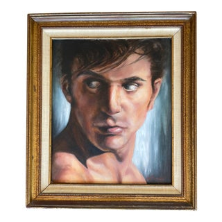 1960s Male Portrait Study Oil Painting by De Chambs, Framed For Sale