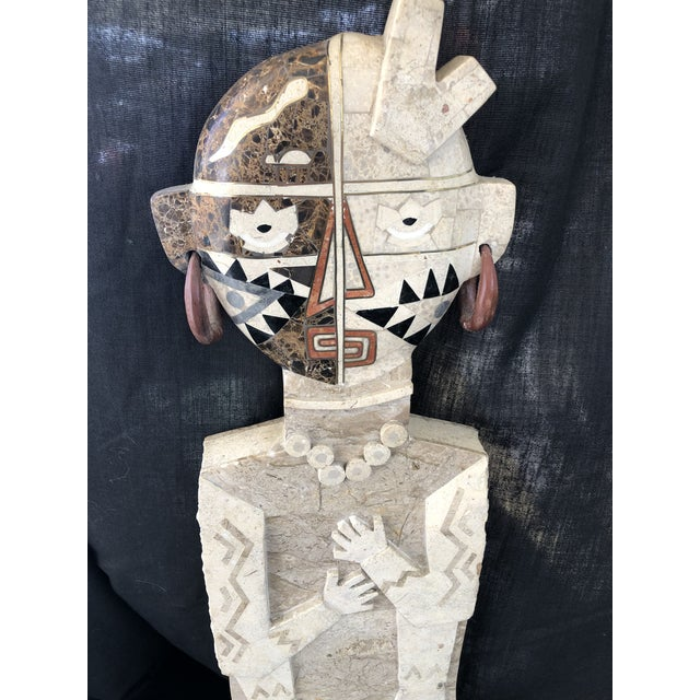 Contemporary 1970s Vintage Inlay Marble Sculpture For Sale - Image 3 of 8
