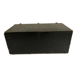 Vintage Industiral Military Wood Foot Locker Trunk For Sale