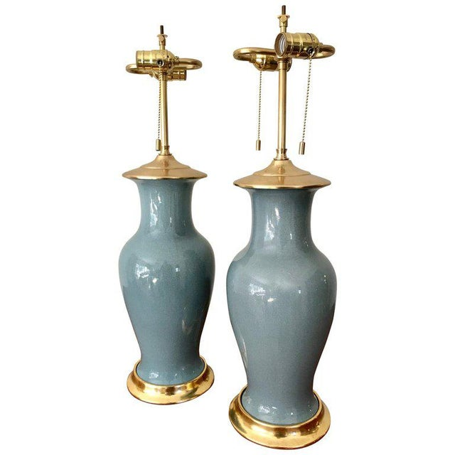 Slate Blue Ceramic on 23-Karat Water Gilt Base Table Lamps - a Pair For Sale - Image 12 of 13