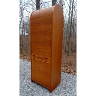 Vintage Danish Modern Teak Tambour Cabinet Storage File Preview