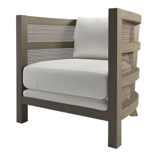 Costero Tub Chair - Weathered Gray Oak, Optic White Linen For Sale
