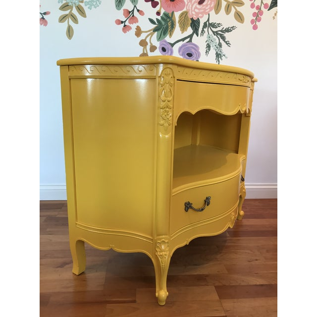 Louis XV Style Drexel Model 3211 Serpentine Front Yellow Paint Cabriole Leg Silverware Chest For Sale - Image 6 of 13