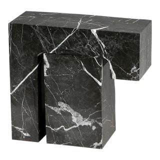 Found II Black Marble Side Table No.5 by a Space For Sale
