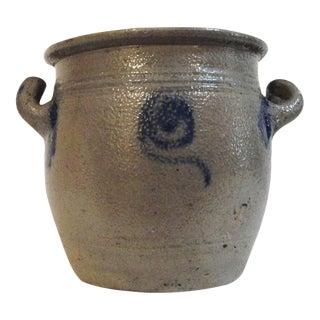 Rare 19th Century Blue Salt Glaze Decorated Salt Crock from Pennsylvania For Sale