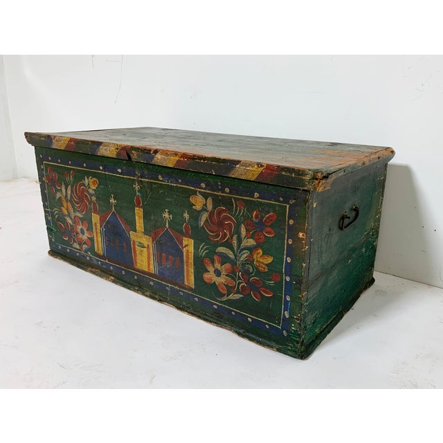Folk Art 19th C. Eastern European Antique Folk Art Painted Chest For Sale - Image 3 of 13