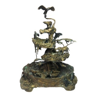 1980s Vintage Steven Lord Solid Bronze Franklin Mint Waters of Life Fountain Sculpture For Sale