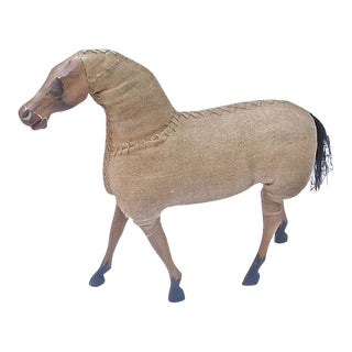 Vintage Large Wood & Burlap Horse Figurine For Sale