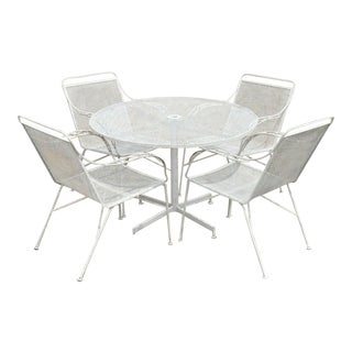 Mid Century Modern Wrought Iron Patio Garden Dining Set- 5 Pieces For Sale